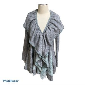 Anthro Ryu gray sweater with blue lace Small